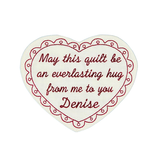 Quilt Labels - Everlasting Hug 5x6