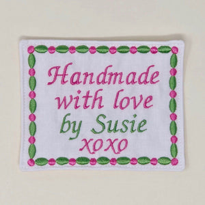 Quilt Labels - Handmade With Love Large 4x5 Inch Personalized Quilt Label