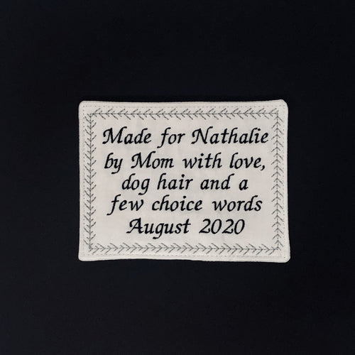Quilt Labels - Large Personalized Label
