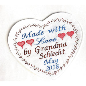 Quilt Labels - Personalized Embroidered Wedding Heart Label 6 X8 Inches With Motif