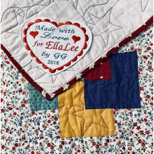 Quilt Labels - Personalized Heart Label With Motif Embroidered