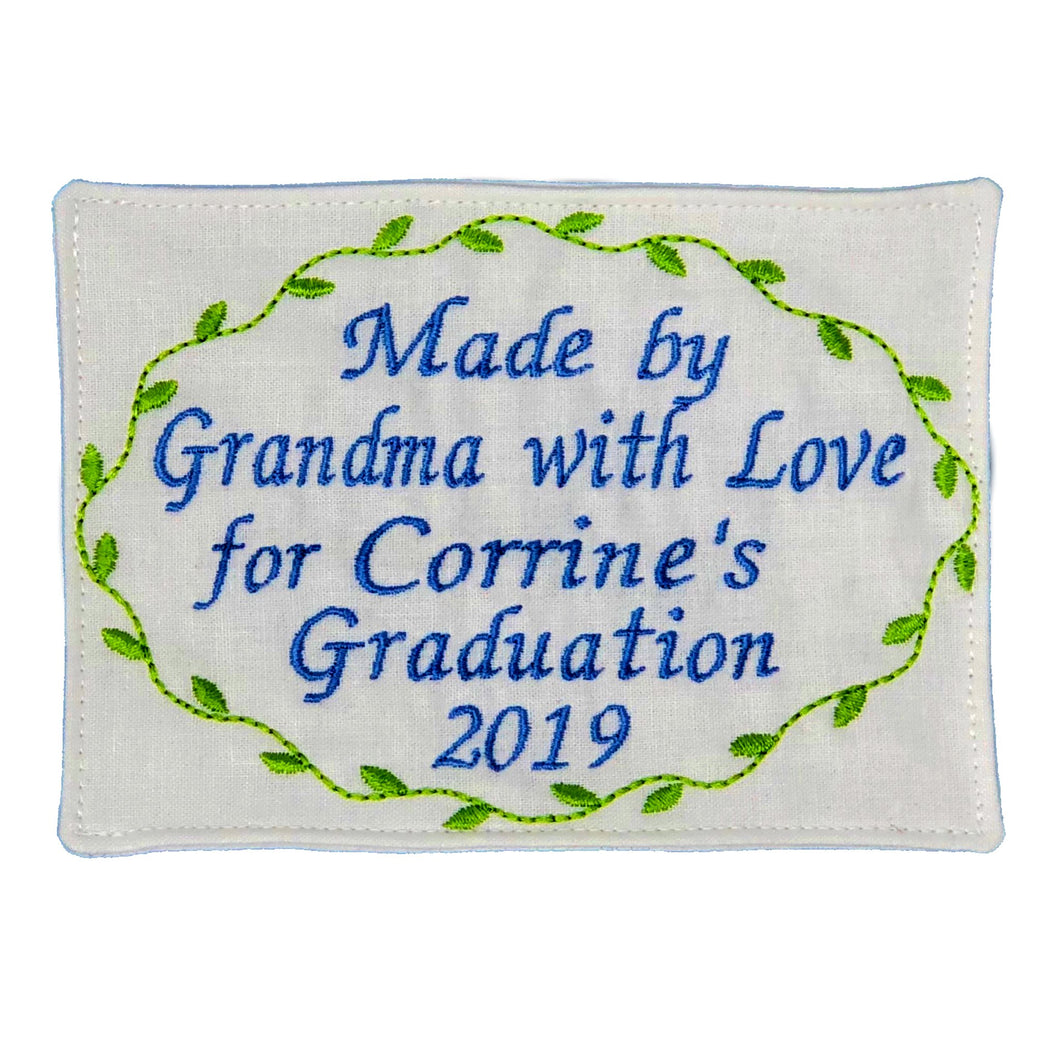Quilt Labels - Personalized Label 5x7 Inch Oval