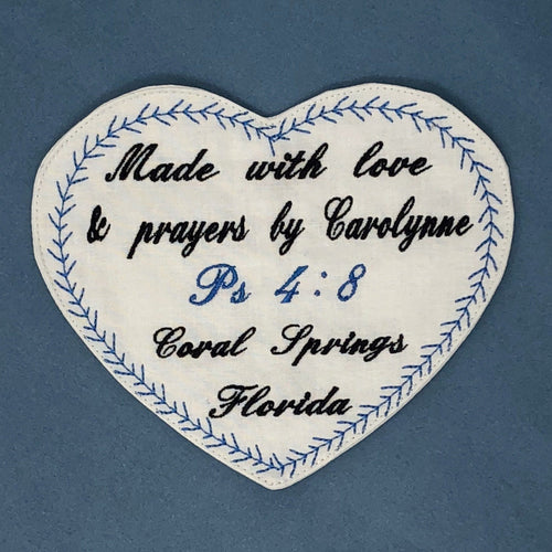 Quilt Labels - Personalized Large Heart Label Embroidered