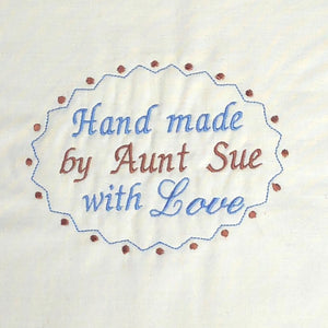 Quilt Labels - Personalized Quilt Label 4x5.5 Inch Oval