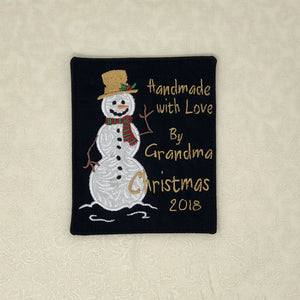 Quilt Labels - Snowman Applique Quilt Label In Black