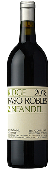 Ridge Vineyards Paso Robles Zinfandel 2018 750ml