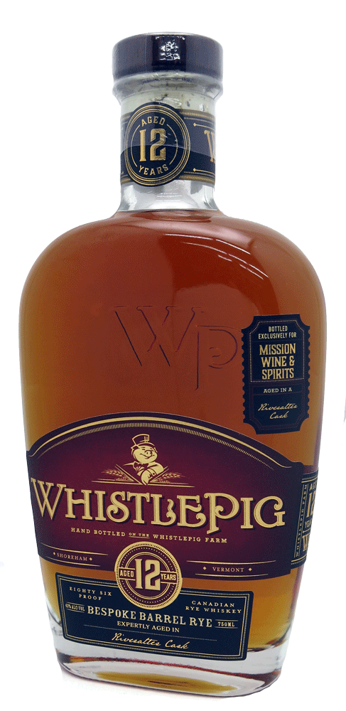 Whistlepig Rye Mission Exclusive 12 Year Old Single Rivesaltes Barrel Rye Whiskey 750ml