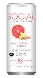 Social Pink Grapefruit Ginger Sparkling Wine 10oz 4 Pack