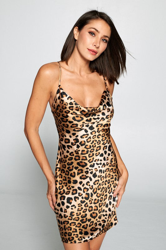 SPAGHETTI STRAP COWL NECK LEOPARD PRINT SATIN MINI DRESS