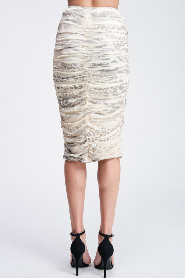 ANIMAL PRINT SHIRRING SKIRT