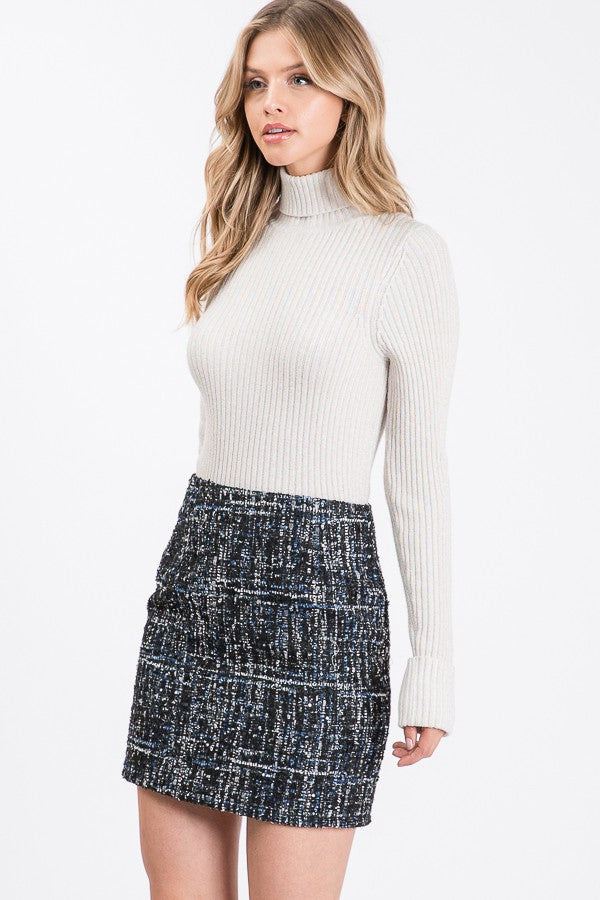 TWEED TEXTURED MINI SKIRT
