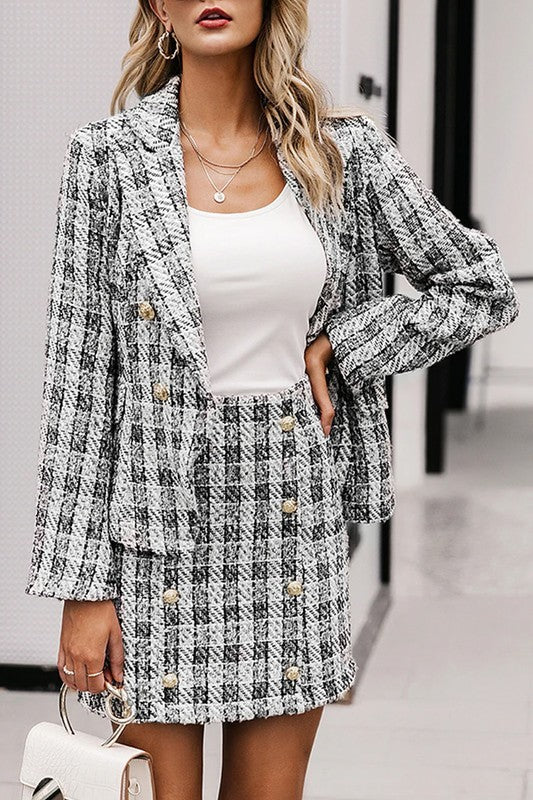 TWEED TWO PIECE JACKET AND SKIRT SET