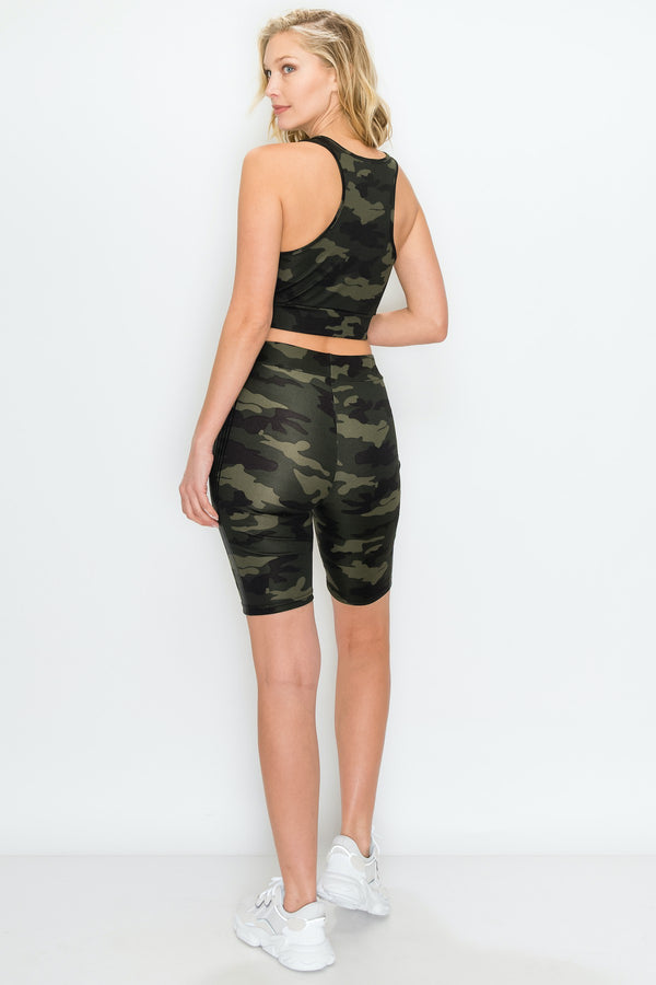 CAMO PRINT CROP TOP AND BIKER SHORT SET