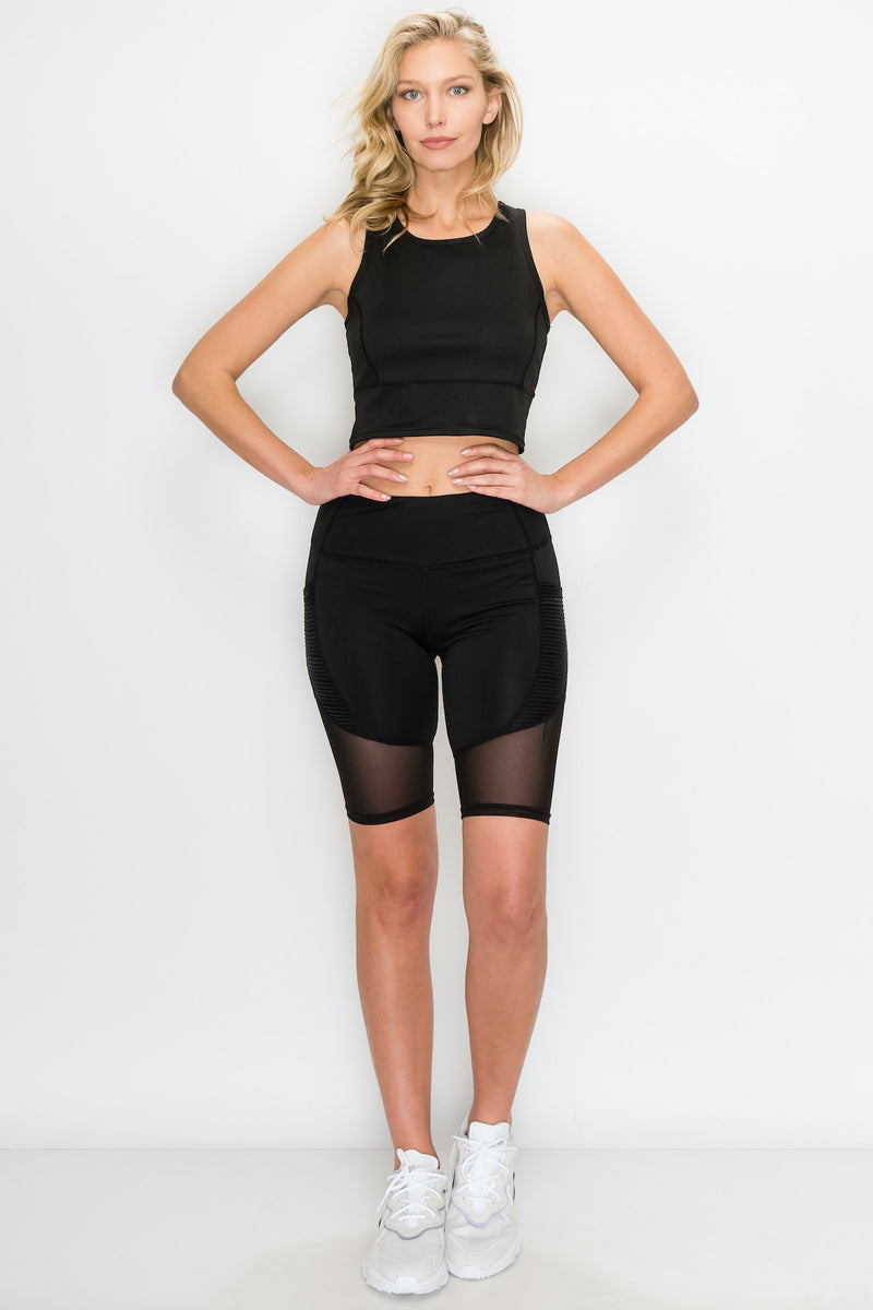 Sheer Mesh Inlay Biker Short