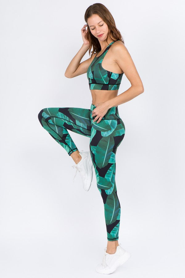 Active Palm Leaf Print Set