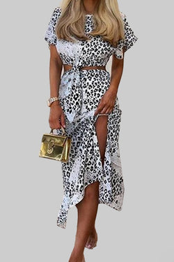 Lace up animal print bandage dresses