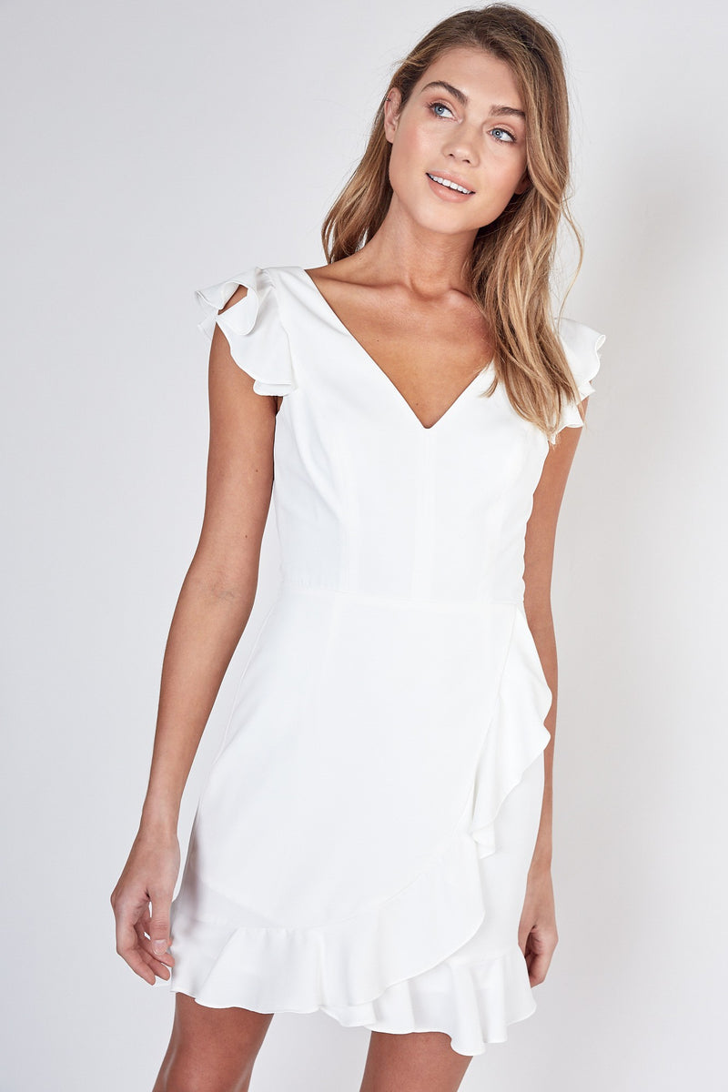 RUFFLE DETAILED COCKTAIL MINI DRESS