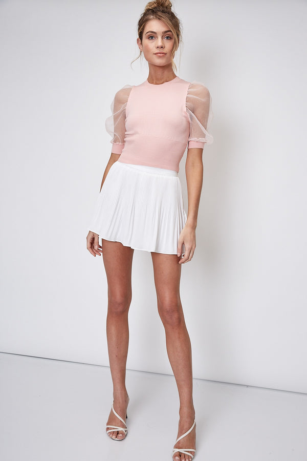 SHORT ORGANZA PUFF SLV KNIT TOP