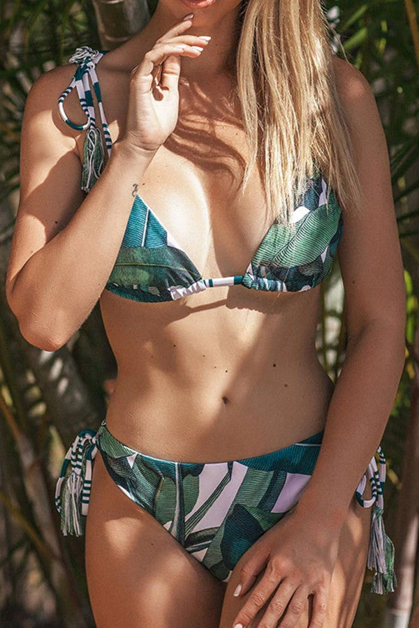 TROPICAL PRINT BIKINI TRIANGLE SWIMWEAR