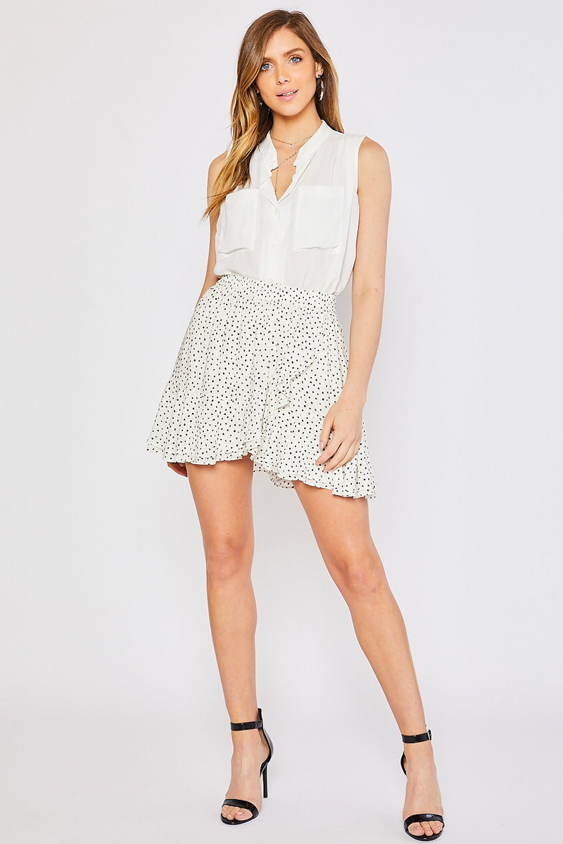 BLACK SPOT PRINT RUFFLED HEM WRAP MINI SKIRT