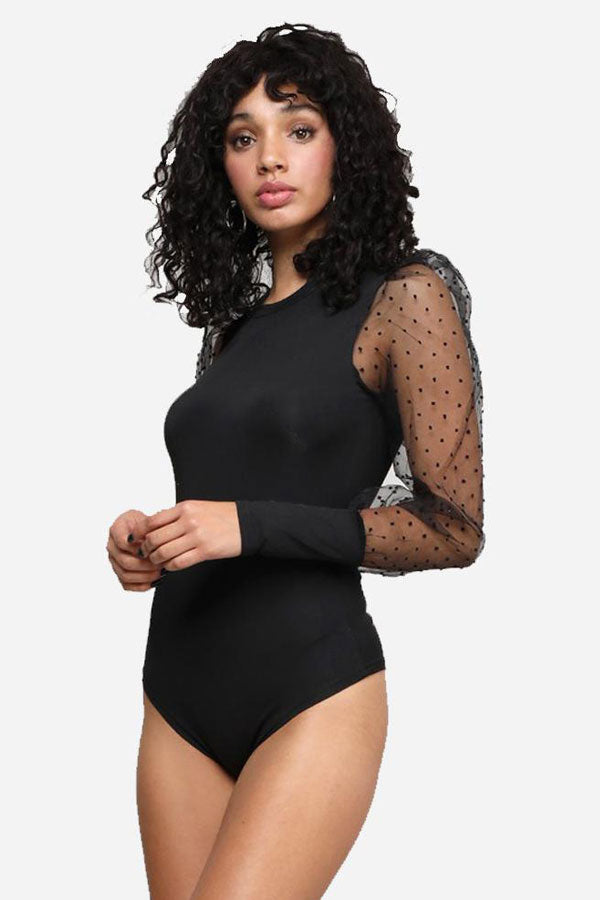Mesh Dotted Bubble Sleeve Thong Bodysuit Top