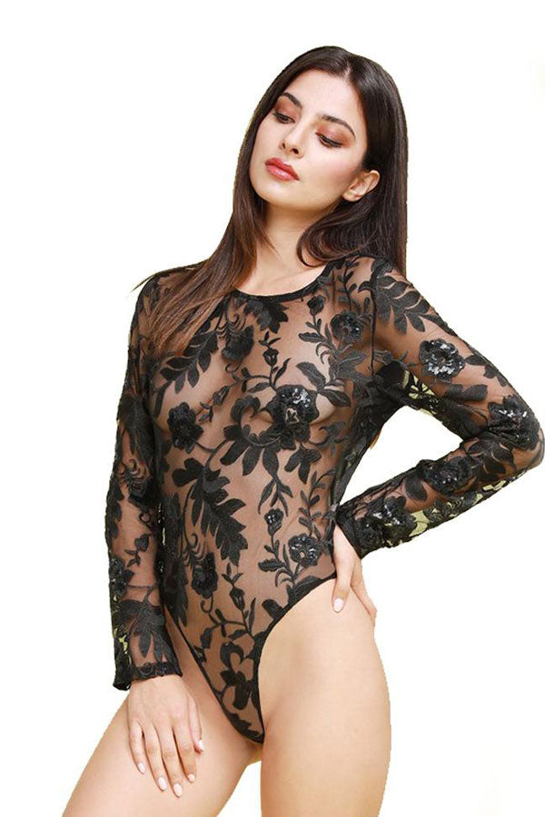 Embroidered Sequin Mesh Lace Long Sleeves Bodysuit