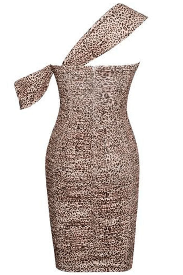 Kitty Kat Leopard Draping Strap Ruched Stretch Crepe Dress