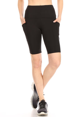 Tummy Control biker shorts with an elastic waistband and side pockets