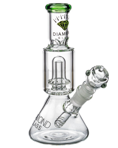 Diamond Glass Short Neck UFO Beaker Bong Green | Rasta Vapors