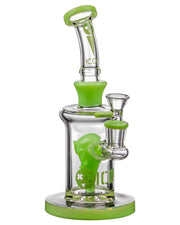Diamond Glass Alien Head Perc Bong in Slyme Green | Rasta Vapors