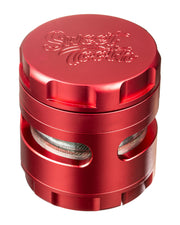 Red 4-Piece Large Radial Teeth Aluminum Grinder | Rasta Vapors