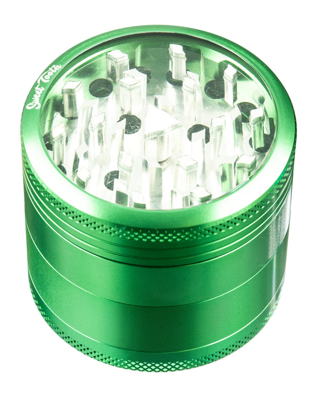 4-Piece Medium Diamond Teeth Clear Top Aluminum Grinder | Rasta Vapors
