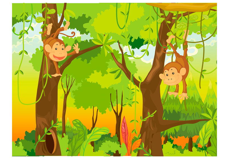 Papier peint - jungle - singes