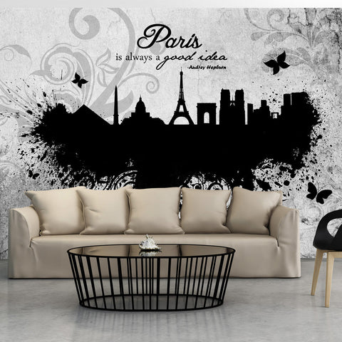 Papier peint - Paris is always a good idea - black and white