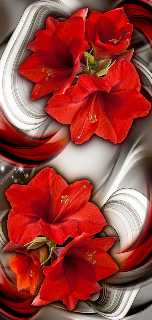 Papier-peint pour porte - Photo wallpaper - Abstraction and red flowers I
