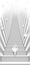 Papier-peint pour porte - Photo wallpaper - White stairs and jewels I