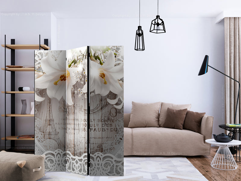 Paravent 3 volets - Lilies and Quilted Background [Room Dividers]