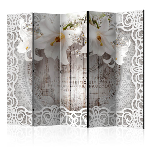 Paravent 5 volets - Lilies and Quilted Background [Room Dividers]