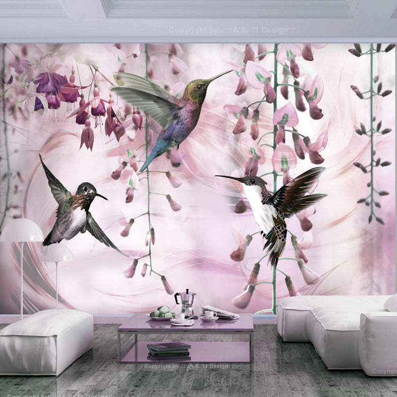 Papier peint - Flying Hummingbirds (Pink)