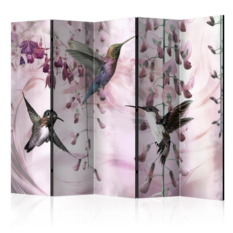 Paravent 5 volets - Flying Hummingbirds (Pink) [Room Dividers]