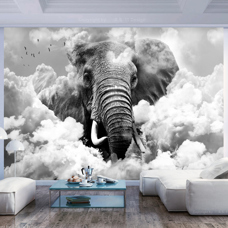 Papier peint - Elephant in the Clouds (Black and White)
