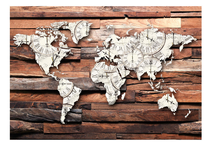 Papier peint - Map On Wood