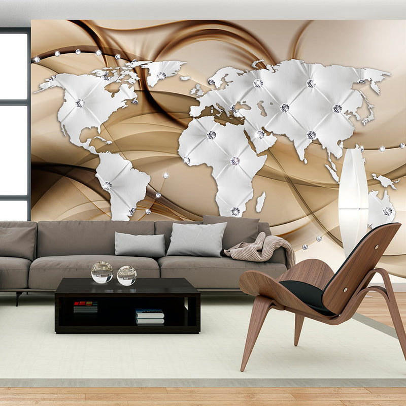Papier peint - World Map - White & Diamonds