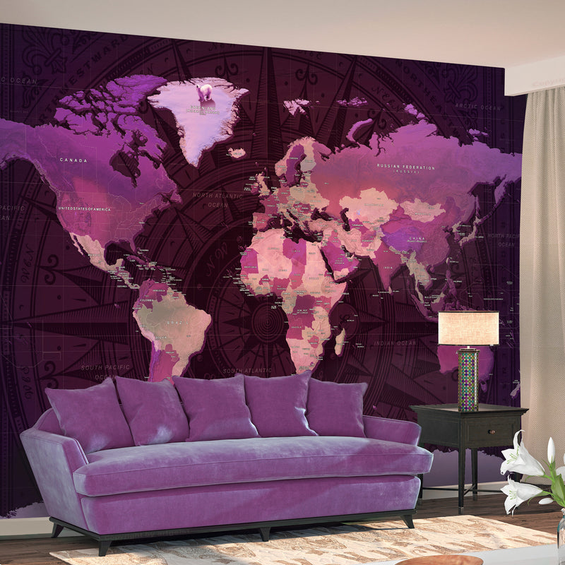 Papier peint - Purple World Map