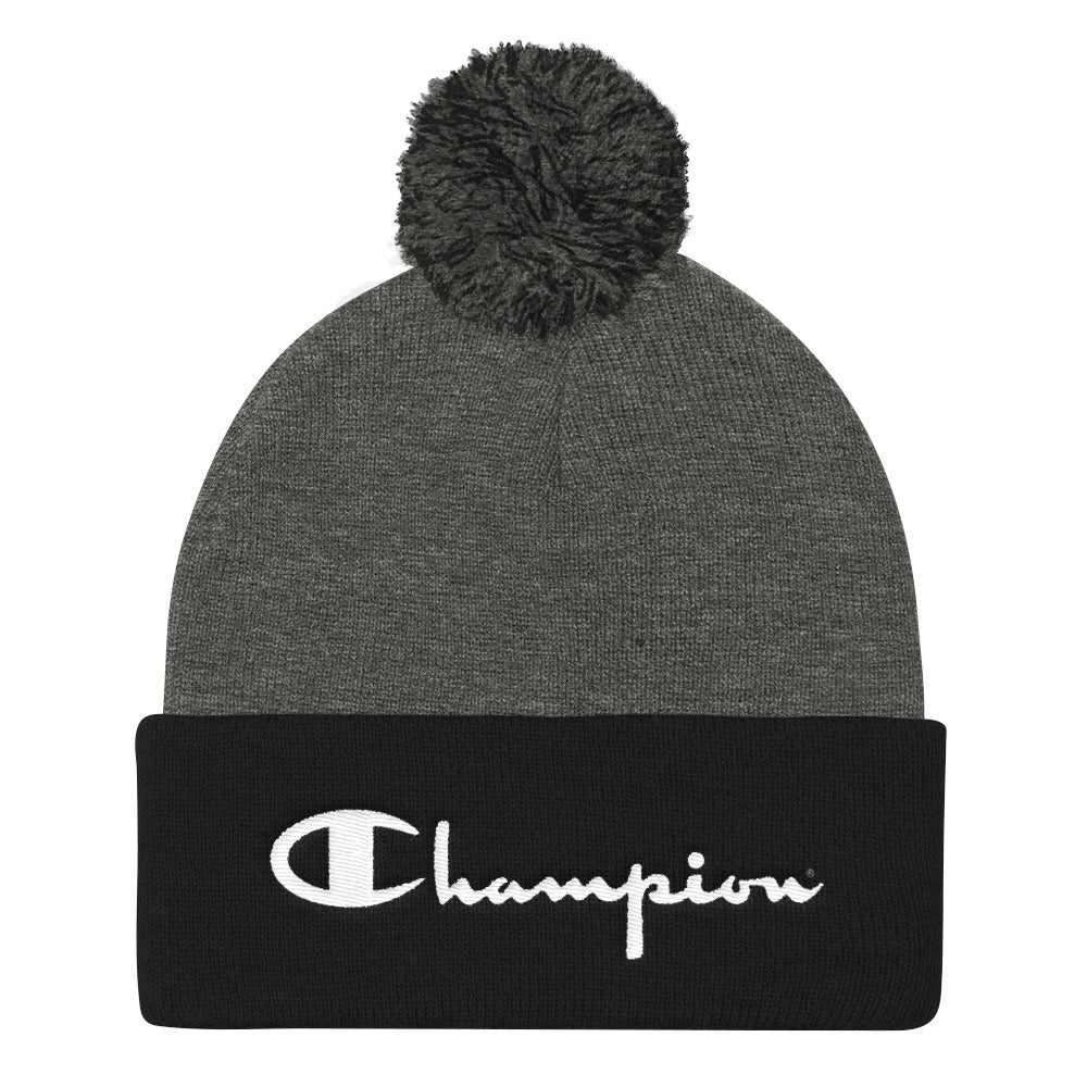 Black and Gray Champion Pom Knitted Beanie - 9 PRIDE Tee s ... 26d242a2b61