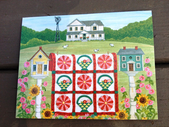 Sew Noted Red and Green Quilt with White House in Background