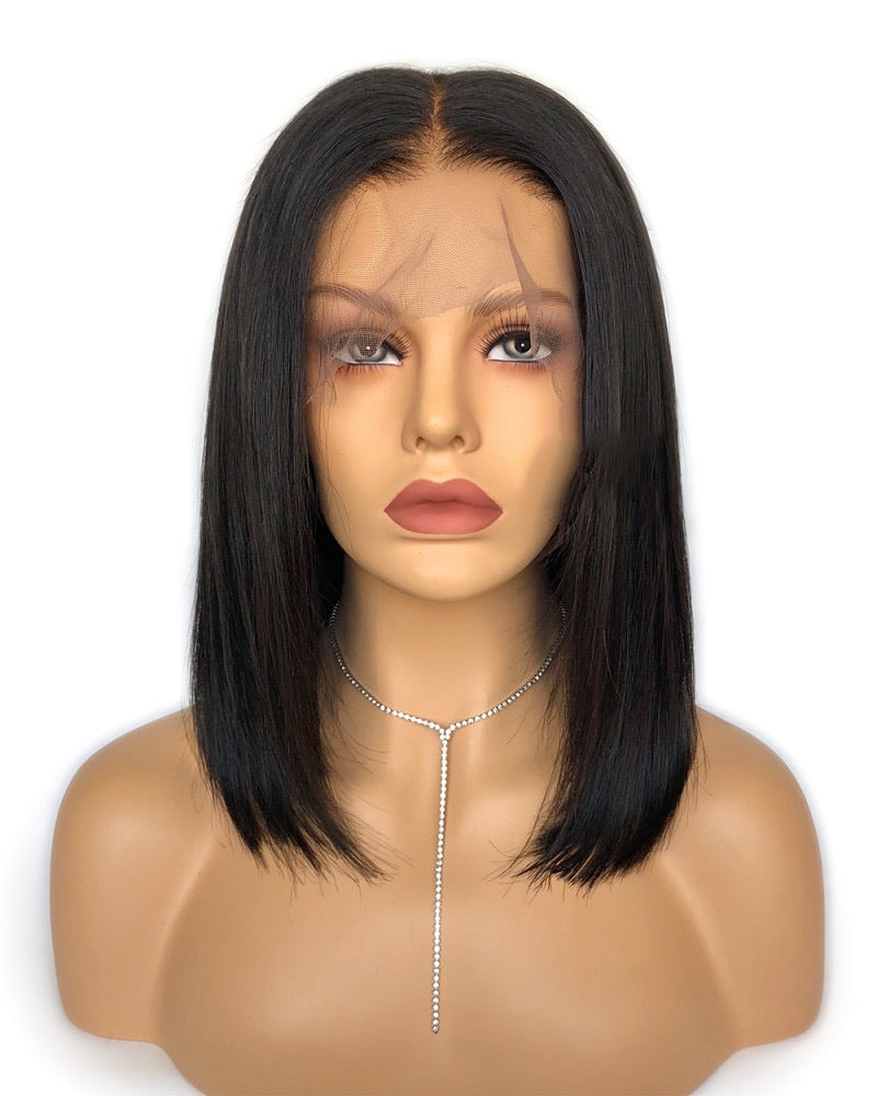 Silky Straight Bob Glueless Lace Wig