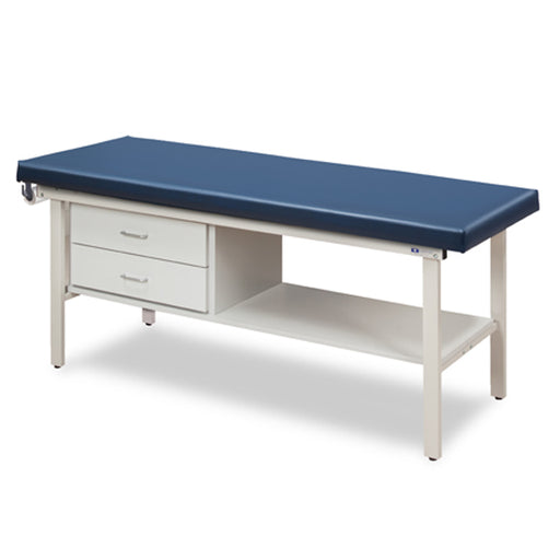 3130-27 Flat Top Alpha-S Series Straight Line Treatment Table/Shelf and Two Drawers