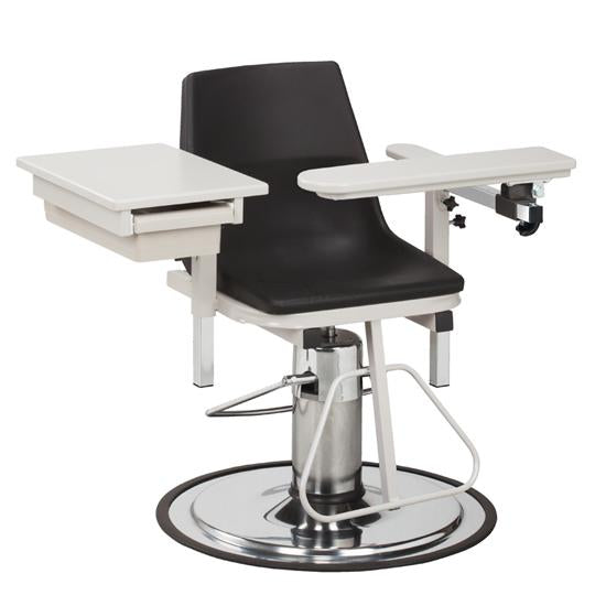 6340-P H Series, E-Z-Clean, Blood Drawing Chair with ClintonClean Flip Arm and Drawer