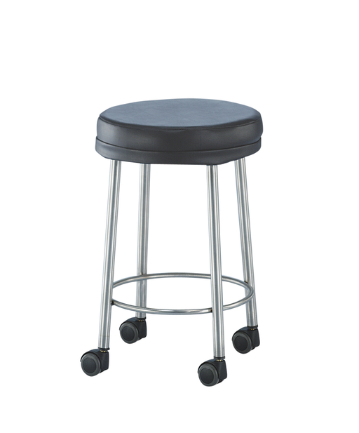 "MR Conditional Padded Stool stainless steel 15"" Diam. x 21""H 2"" cushion on rubber tips - Didage"